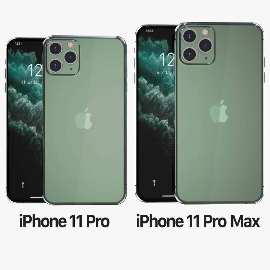 Iphone 11 pro e Iphone 11 Pro Max royalty-free 3d model - Preview no. 2