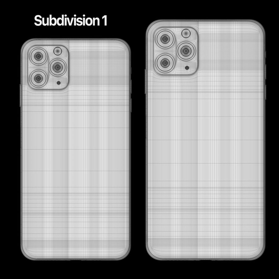 Iphone 11 pro e Iphone 11 Pro Max royalty-free 3d model - Preview no. 8