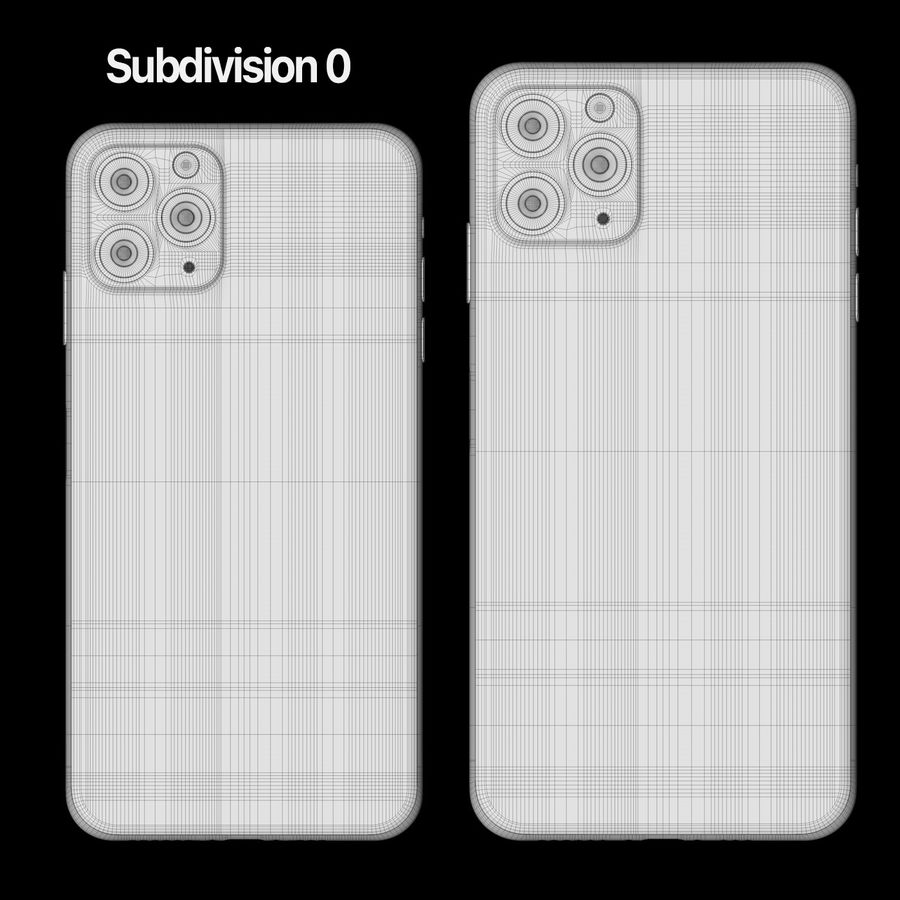 Iphone 11 pro e Iphone 11 Pro Max royalty-free 3d model - Preview no. 7