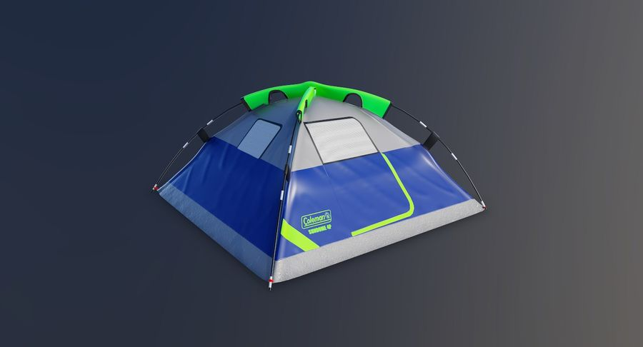 Tente de camp 4 personnes royalty-free 3d model - Preview no. 2