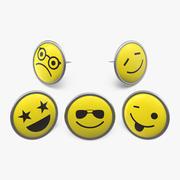 Ronde Smiley gezichten pins 3d model