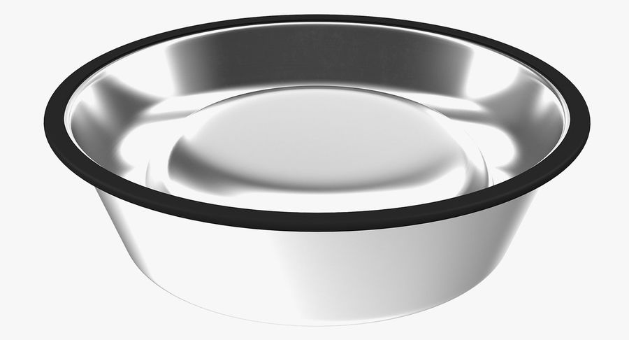 Dry Dog Food Stainless Steel Bowl royalty-free 3d model - Preview no. 14