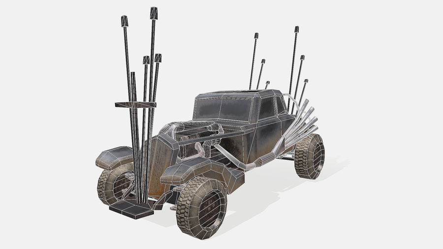 Mad Max Nux Car - Rat Rod - Hot Rod Buggy Low-poly royalty-free 3d model - Preview no. 14