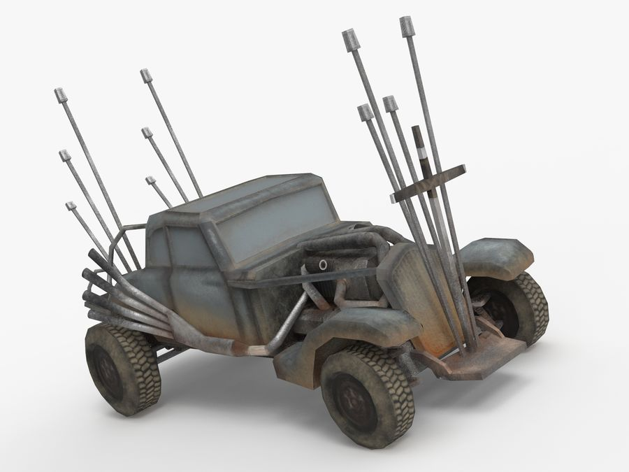 Mad Max Nux Car - Rat Rod - Hot Rod Buggy Low-poly royalty-free 3d model - Preview no. 2