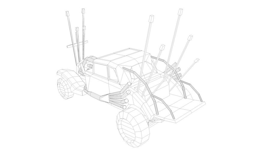 Mad Max Nux Car - Rat Rod - Hot Rod Buggy Low-poly royalty-free 3d model - Preview no. 4