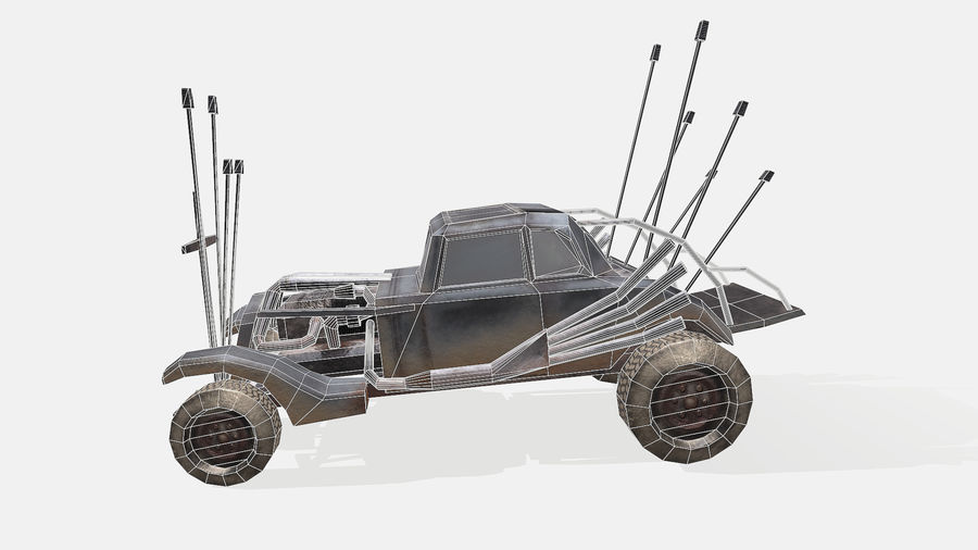 Mad Max Nux Car - Rat Rod - Hot Rod Buggy Low-poly royalty-free 3d model - Preview no. 13