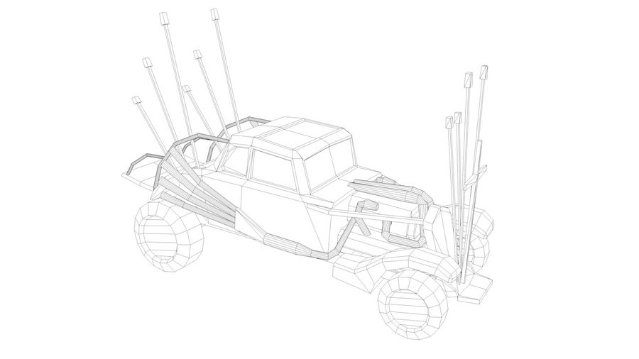 Mad Max Nux Car - Rat Rod - Hot Rod Buggy Low-poly royalty-free 3d model - Preview no. 3