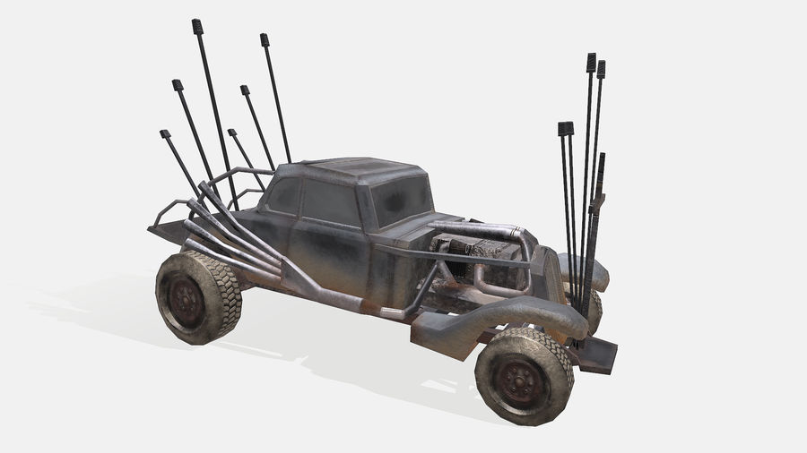 Mad Max Nux Car - Rat Rod - Hot Rod Buggy Low-poly royalty-free 3d model - Preview no. 7