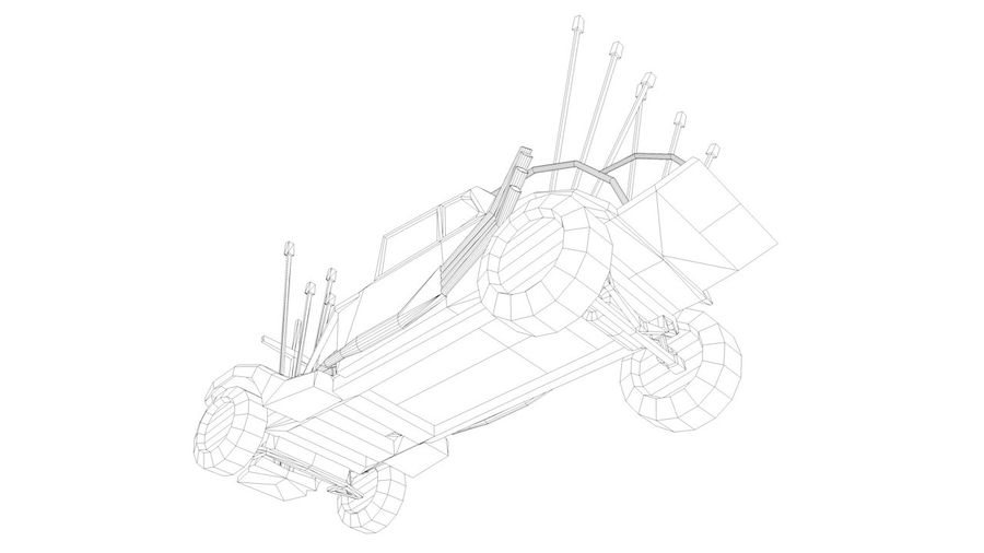 Mad Max Nux Car - Rat Rod - Hot Rod Buggy Low-poly royalty-free 3d model - Preview no. 6