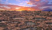 바위 물 사막 풍경 3d model