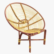 Chair rattan oval round 3d model