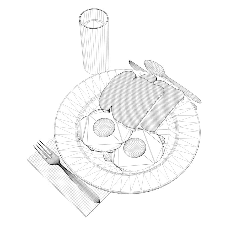 breakfast royalty-free 3d model - Preview no. 5