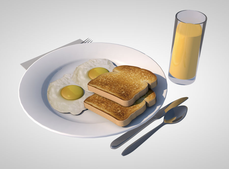 breakfast royalty-free 3d model - Preview no. 3
