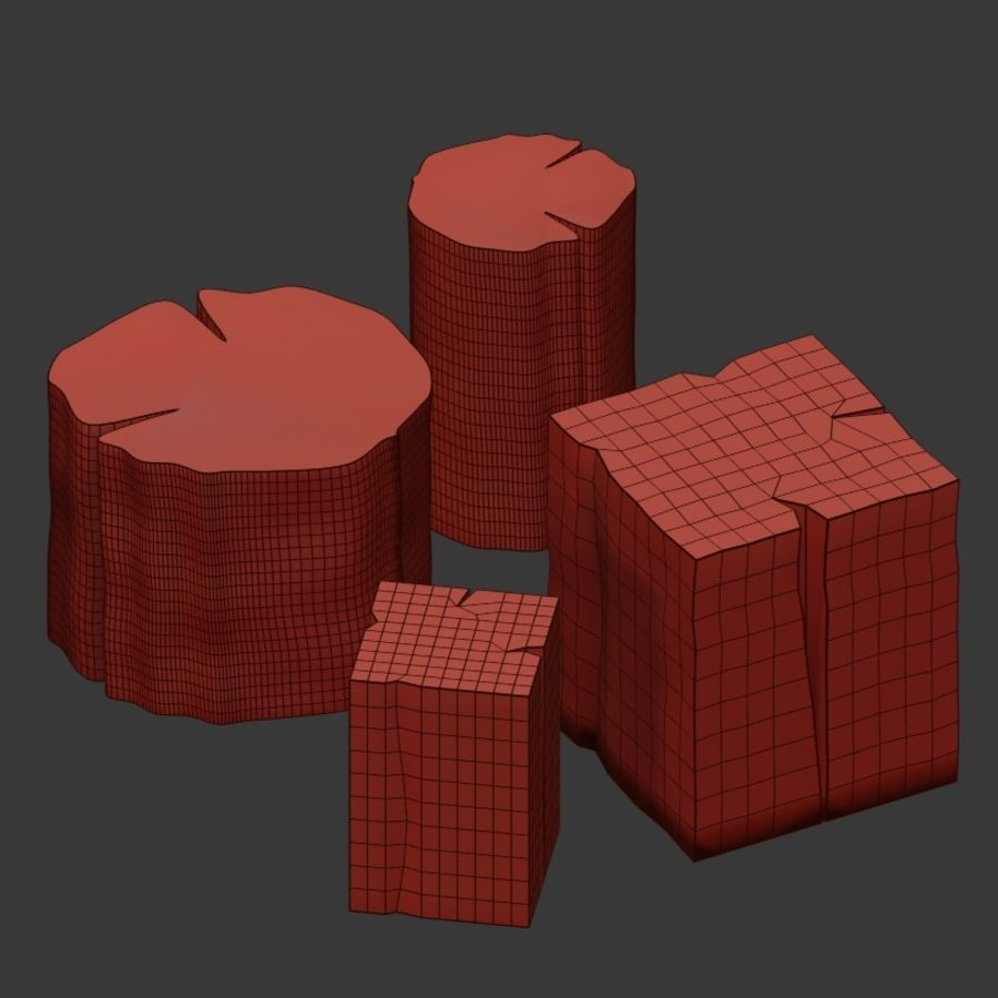 Set of tables from stumps royalty-free 3d model - Preview no. 4