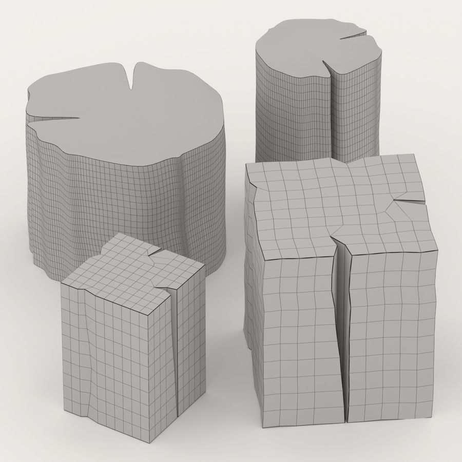 Set of tables from stumps royalty-free 3d model - Preview no. 3
