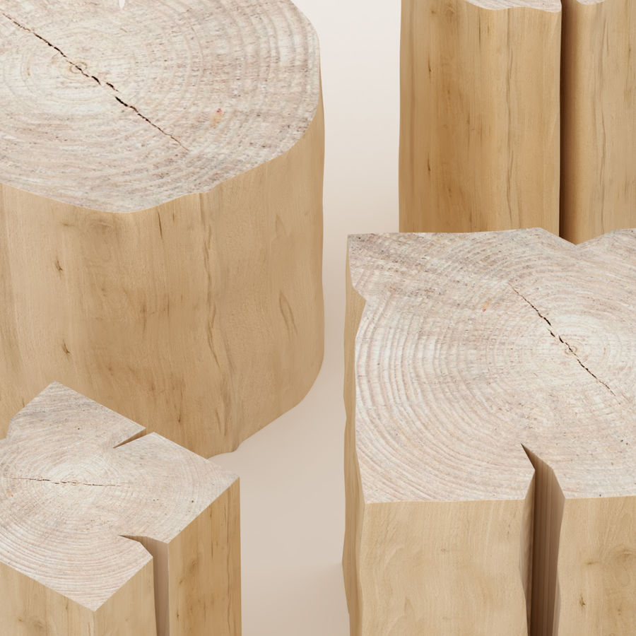 Set of tables from stumps royalty-free 3d model - Preview no. 2