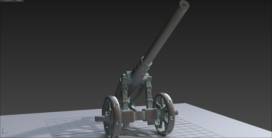 Cañón royalty-free modelo 3d - Preview no. 7