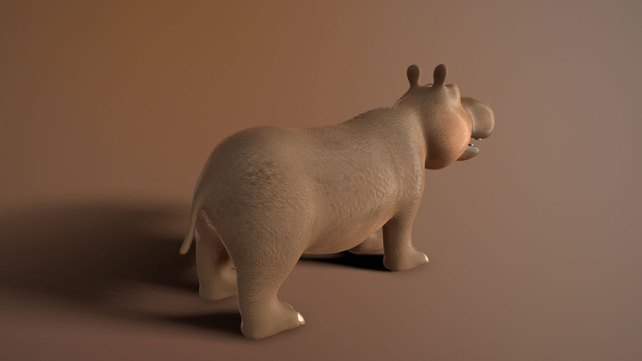 cartoon hippo royalty-free 3d model - Preview no. 6