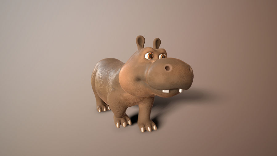 cartoon hippo royalty-free 3d model - Preview no. 8