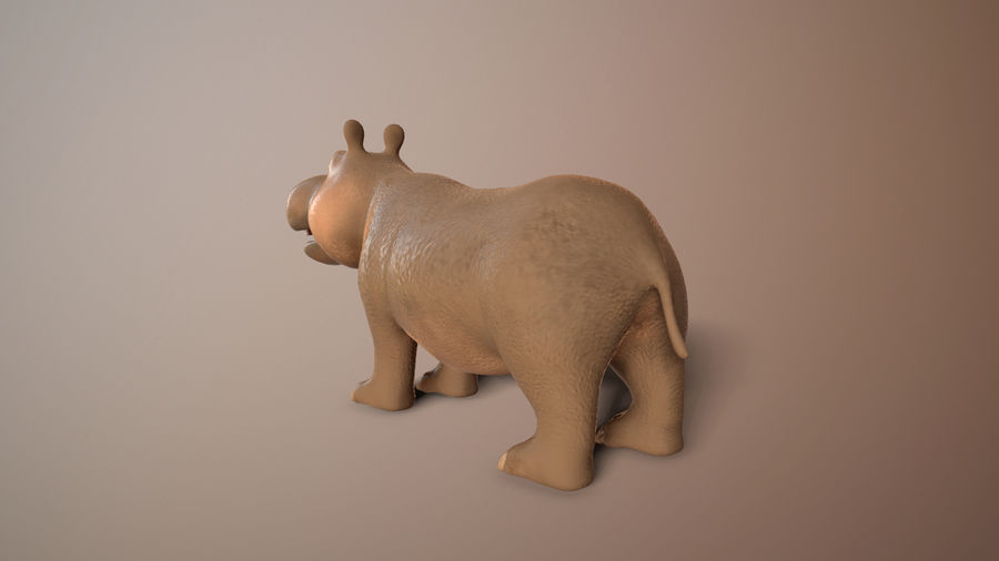 cartoon hippo royalty-free 3d model - Preview no. 4