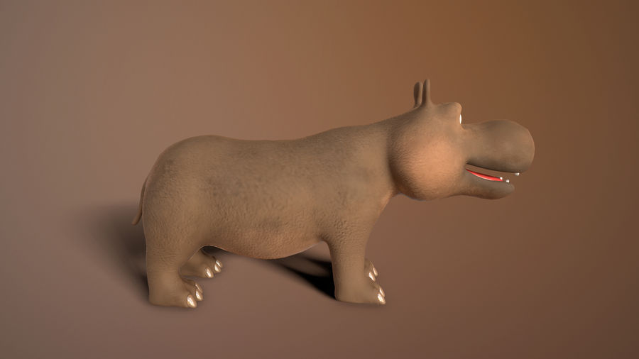 cartoon hippo royalty-free 3d model - Preview no. 5