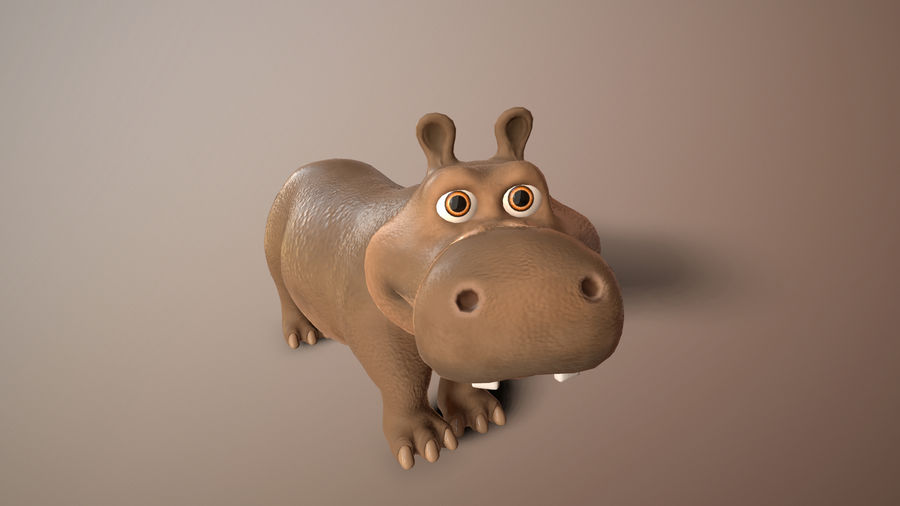 cartoon hippo royalty-free 3d model - Preview no. 1