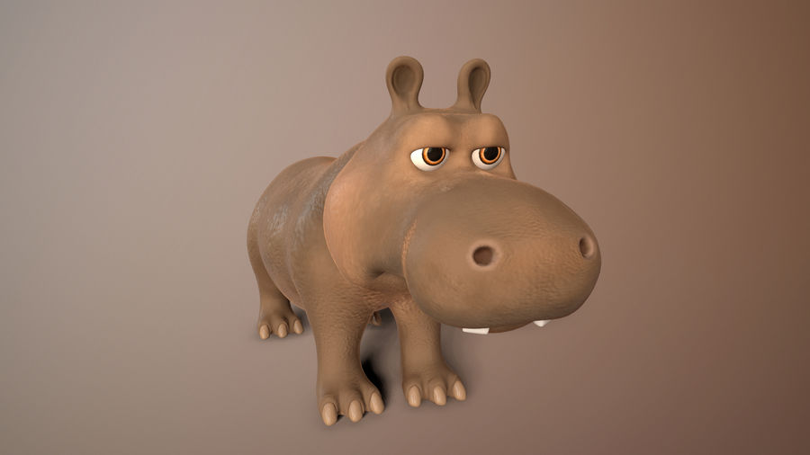 cartoon hippo royalty-free 3d model - Preview no. 9