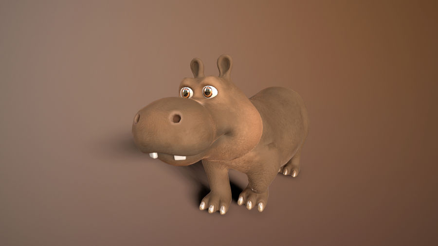 cartoon hippo royalty-free 3d model - Preview no. 3