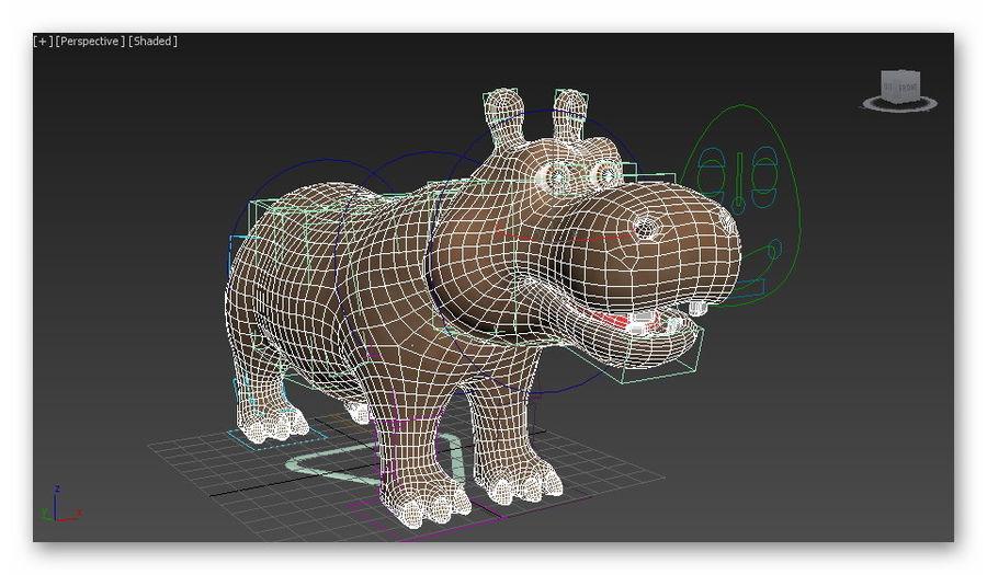 cartoon hippo royalty-free 3d model - Preview no. 10