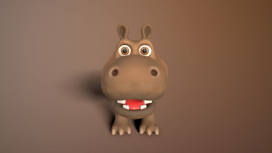 cartoon hippo royalty-free 3d model - Preview no. 7