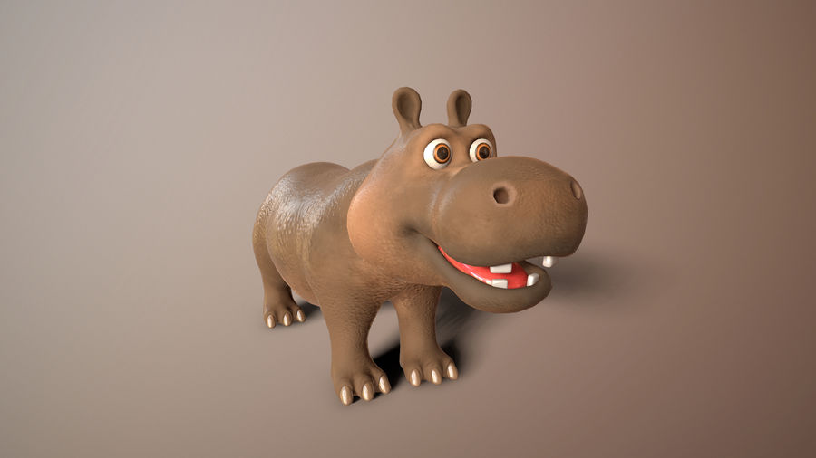 cartoon hippo royalty-free 3d model - Preview no. 2