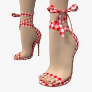 LALA IKAI苏格兰格子高跟凉鞋 3d model