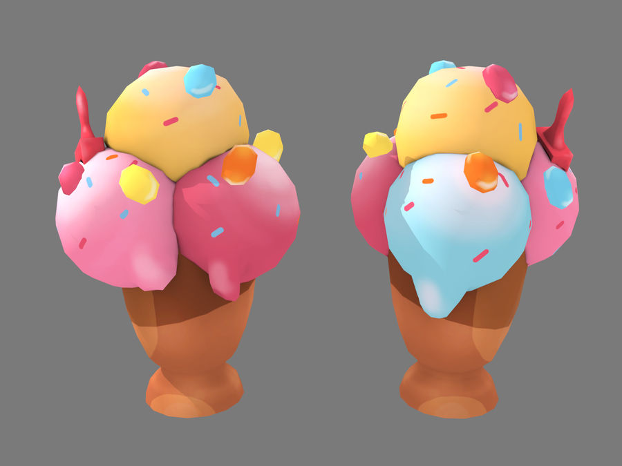 Ice Cream Triple royalty-free 3d model - Preview no. 6