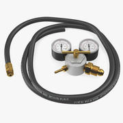 Argon Pressure Regulator with Gas Hose 3d model