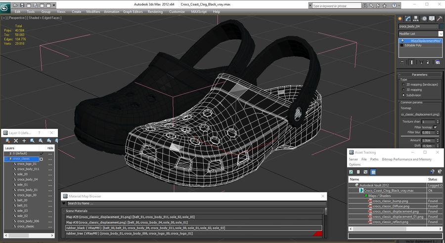Crocs Coast Clog Black royalty-free 3d model - Preview no. 19