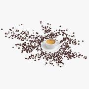 Espresso met verspreide bonen 3d model