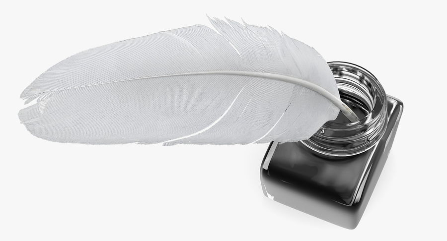 Quill Bright Feather Ink Set royalty-free 3d model - Preview no. 6