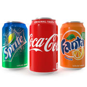 Coca Cola Fanta Sprite Latas 12 oz 3d model