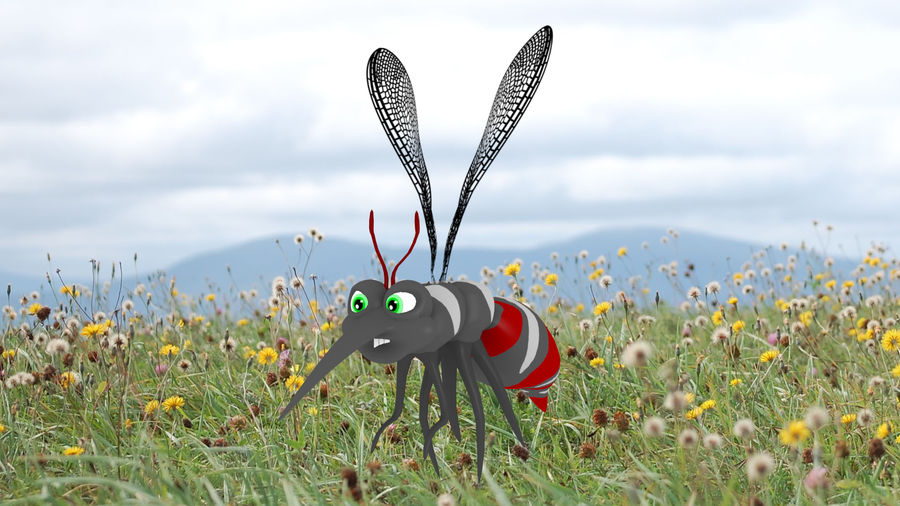 Cartoon Mosquito royalty-free 3d model - Preview no. 2