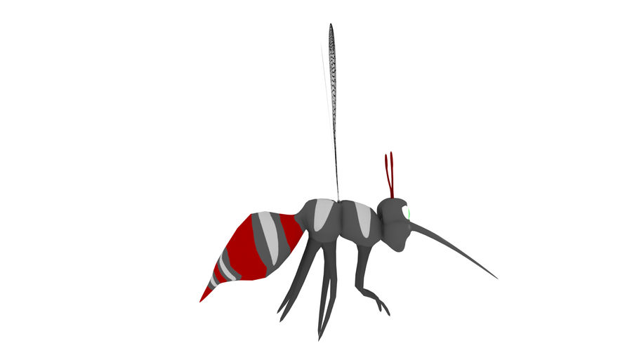 Cartoon Mosquito royalty-free 3d model - Preview no. 6