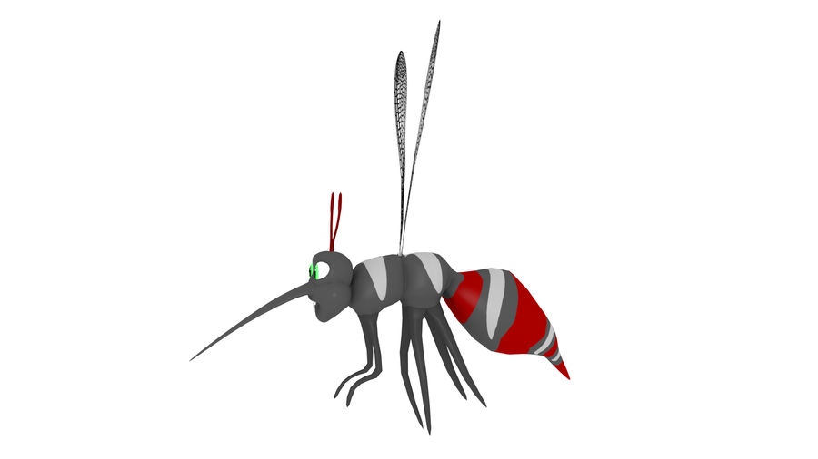 Cartoon Mosquito royalty-free 3d model - Preview no. 3