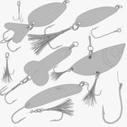 Fiske lockar och krokar Collection V1 3d model