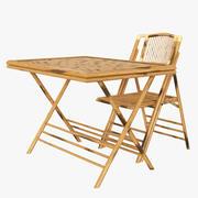 Bambu hopfällbar stol och bord 3d model