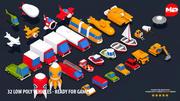 32 Низкополигональных Транспортных средства - Готов к Играм 3d model
