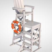 lifeguard chair lifebuoy 3d model