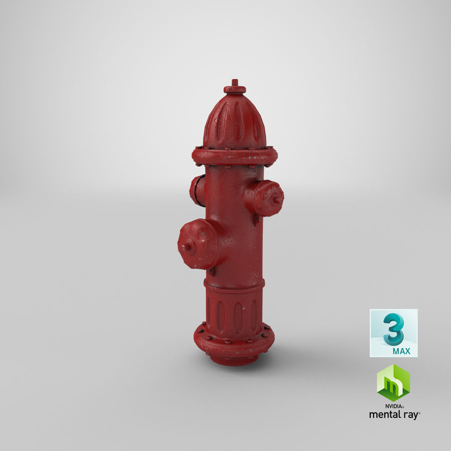 Fire Hydrant Red royalty-free 3d model - Preview no. 21