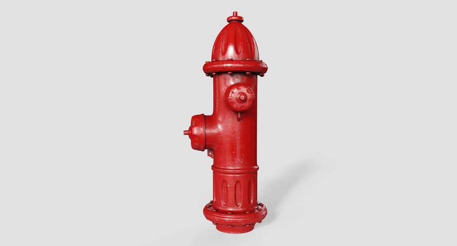 Fire Hydrant Red royalty-free 3d model - Preview no. 4