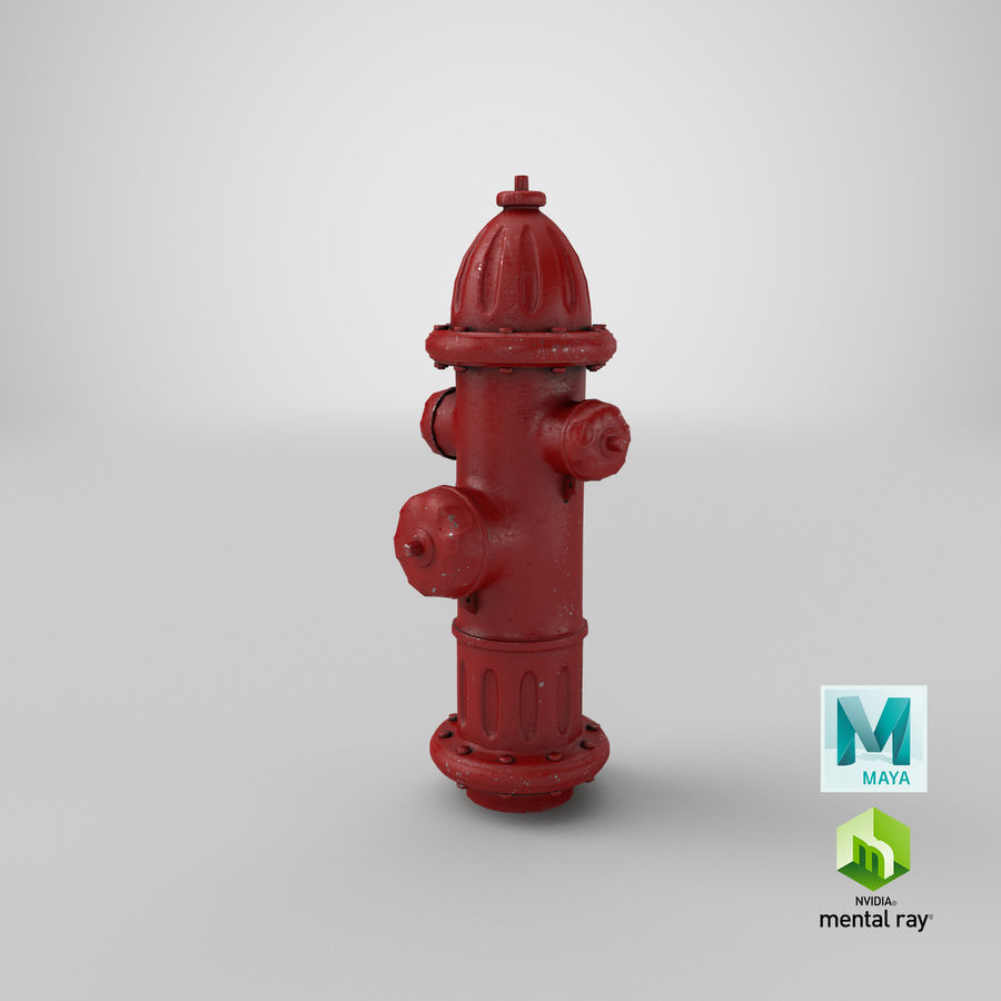 Fire Hydrant Red royalty-free 3d model - Preview no. 23