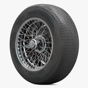 Retro Car Wheel With Spokes, Tire and Brake 3d model