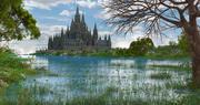 Fantasy Cathedral Landscape 3d model